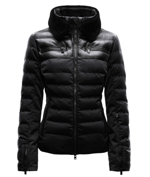 Black Fur lined ski jacket